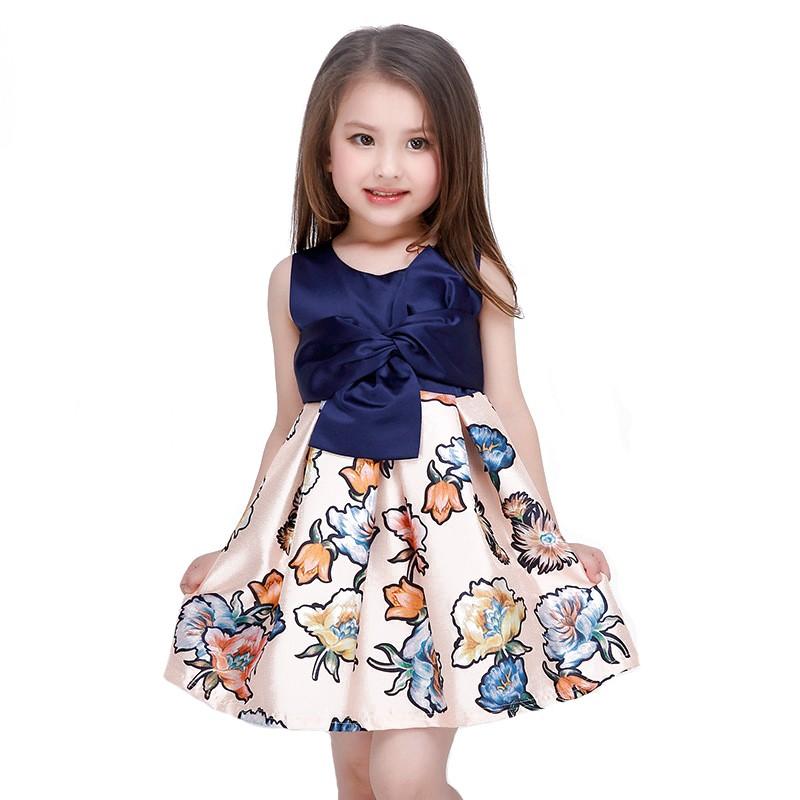 6114600afc30e Robe Baptême Robe fille   bébé imprimé fleurs satin bleu de 2-8 ans ...