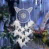 Attrape rêve Fluorescent tête de chat, véritables plumes