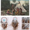 Attrape-rêve indien 4 anneaux marron, perles bleues