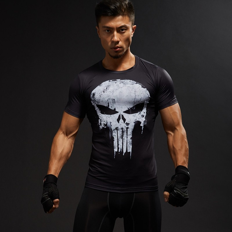 T-shirt fitness compression homme Manches courtes 3D Taille adulte ... a7afa80df30