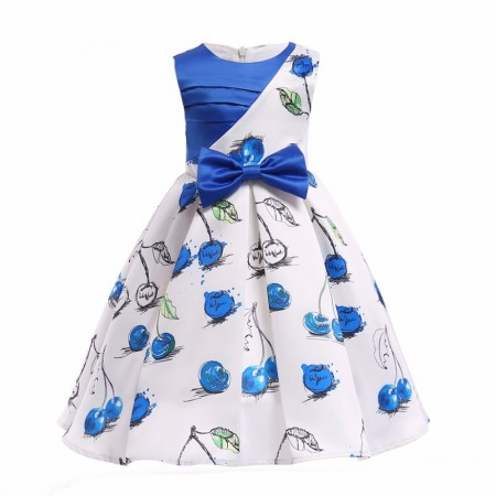 Robe fille sans manches imprimé papillon robe bleue pour Kids