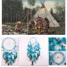 Lanitta/grand Attrape-rêve bleu, véritable plume, fabrication artisanale