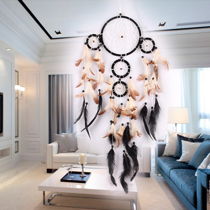 Attrape-rêve 4 anneaux noir, véritable plumes, décoration chambre ...