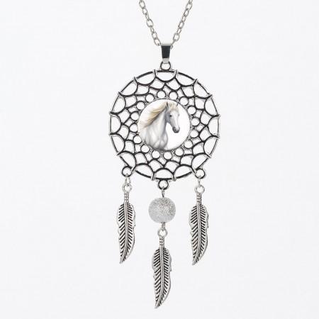 Collier pendentif attrape-rêve cheval avec perle, fait main, plusieurs models au choix