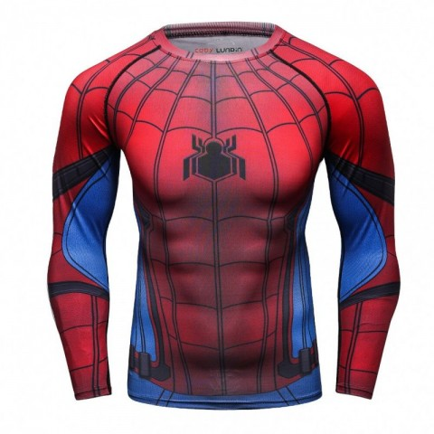 High quality red blue spiderman compression fitness t-shirt