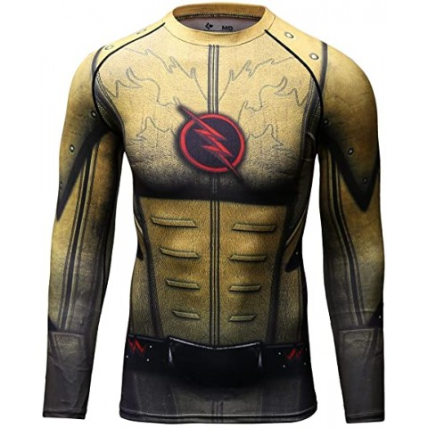 Compression T-shirt man Flash yellow long sleeve