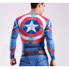 Captain America Herren Kompressions-T-Shirt, blau-multicolor, lange Ärmel