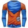 Camiseta de compresión Dragon Ball Z Son Goku para hombre, azul-naranja, mangas largas