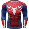 Compression T-shirt Man Superhero Spiderman Spider red blue, long sleeves.