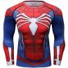 T-shirt compression Homme Super-héros Spiderman Araignée rouge bleu, manches longues.