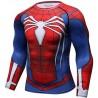 T-shirt Compression Uomo Superhero Spiderman Spider rosso blu, maniche lunghe.