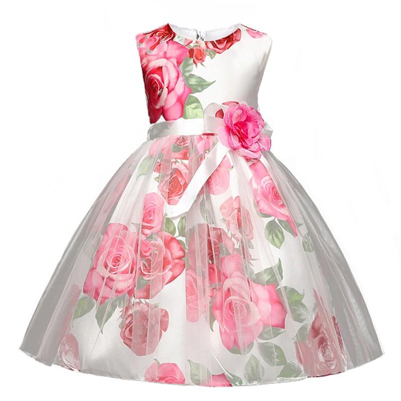 Rose Fleur Imprimer Filles Princesse Robe Kids Party Porter Petales